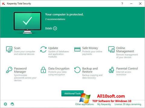 Captură de ecran Kaspersky Total Security pentru Windows 10