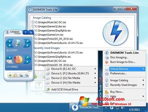 Captură de ecran DAEMON Tools Lite pentru Windows 10