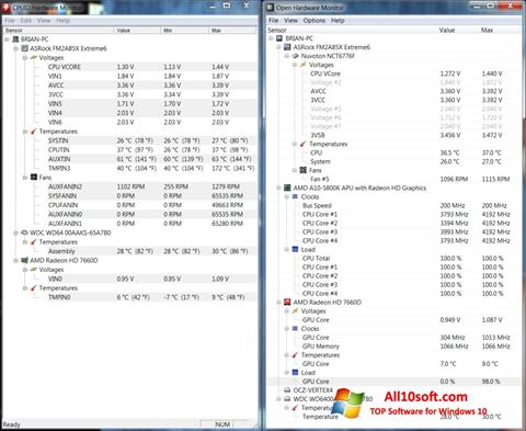 Captură de ecran Open Hardware Monitor pentru Windows 10