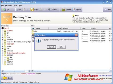 Captură de ecran GetDataBack pentru Windows 10