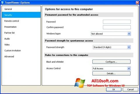 Captură de ecran TeamViewer pentru Windows 10