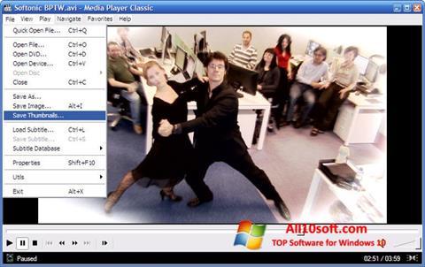 Captură de ecran Media Player Classic pentru Windows 10
