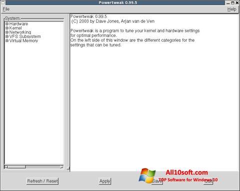 Captură de ecran PowerTweak pentru Windows 10