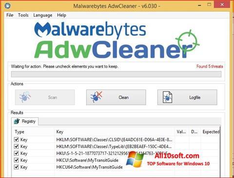 Captură de ecran AdwCleaner pentru Windows 10
