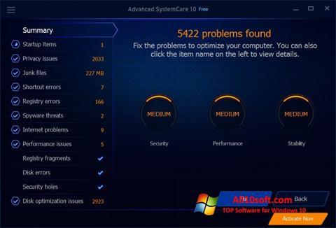 Captură de ecran Advanced SystemCare Free pentru Windows 10
