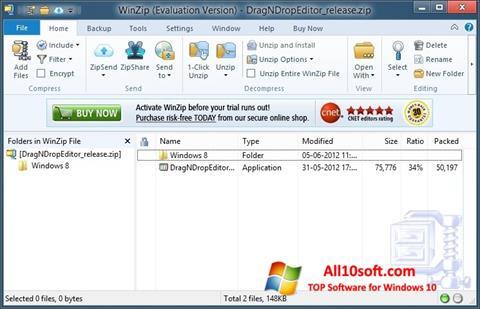 Captură de ecran WinZip pentru Windows 10