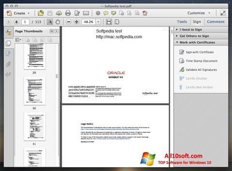 Captură de ecran Adobe Acrobat pentru Windows 10