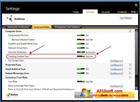 Captură de ecran Norton pentru Windows 10