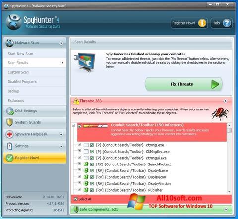Captură de ecran SpyHunter pentru Windows 10
