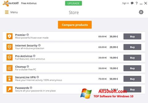 Captură de ecran Avast Free Antivirus pentru Windows 10