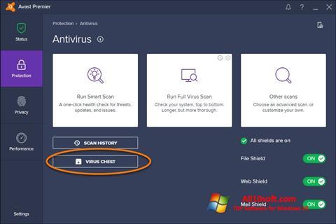 Captură de ecran Avast pentru Windows 10