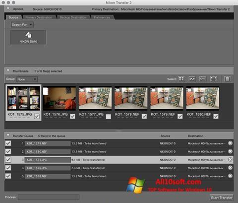 Captură de ecran Nikon Transfer pentru Windows 10