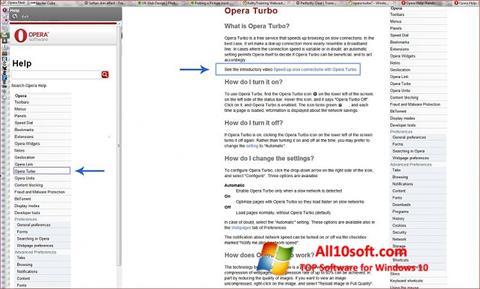 Captură de ecran Opera Turbo pentru Windows 10
