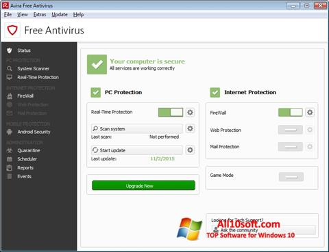 Captură de ecran Avira Free Antivirus pentru Windows 10