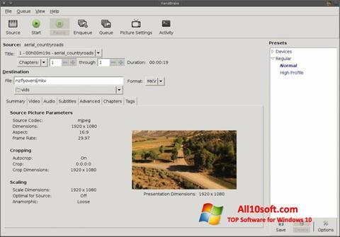 Captură de ecran HandBrake pentru Windows 10