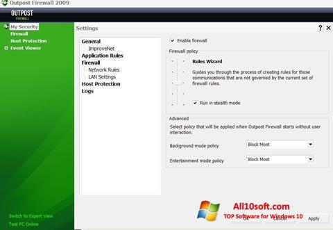 Captură de ecran Outpost Firewall Free pentru Windows 10