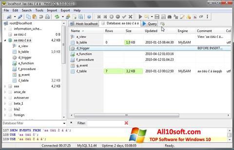 Captură de ecran HeidiSQL pentru Windows 10