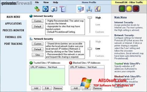 Captură de ecran Privatefirewall pentru Windows 10
