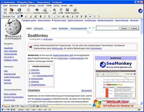 Captură de ecran SeaMonkey pentru Windows 10