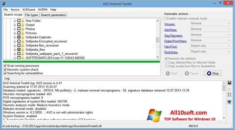 Captură de ecran AVZ pentru Windows 10