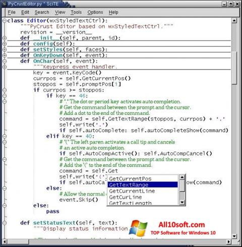 Captură de ecran SciTE pentru Windows 10
