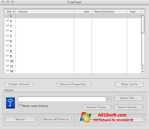 Captură de ecran TrueCrypt pentru Windows 10