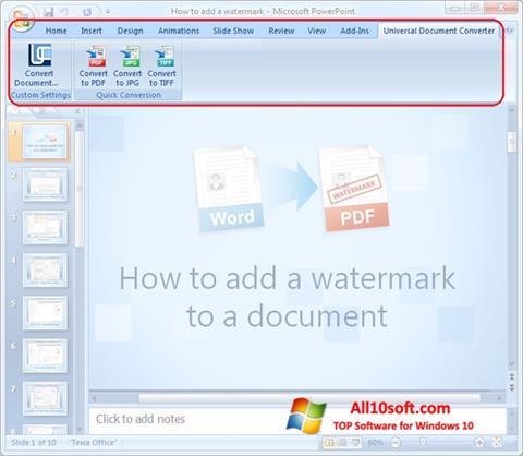 Captură de ecran Microsoft PowerPoint pentru Windows 10