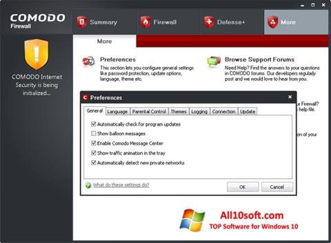 Captură de ecran Comodo Firewall pentru Windows 10