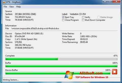 Captură de ecran ImgBurn pentru Windows 10