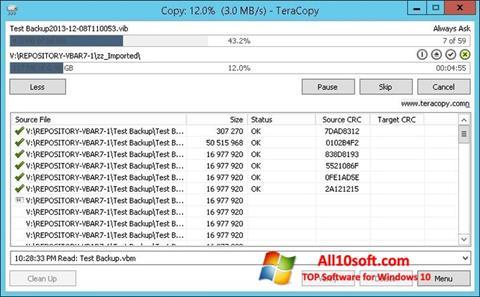 Captură de ecran TeraCopy pentru Windows 10