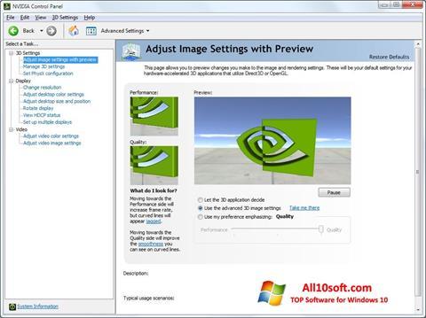 Captură de ecran NVIDIA ForceWare pentru Windows 10