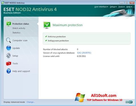 Captură de ecran ESET NOD32 pentru Windows 10