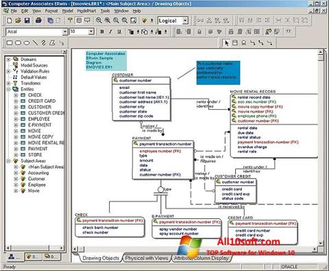 Captură de ecran ERWin pentru Windows 10