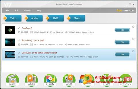 Captură de ecran Freemake Video Converter pentru Windows 10