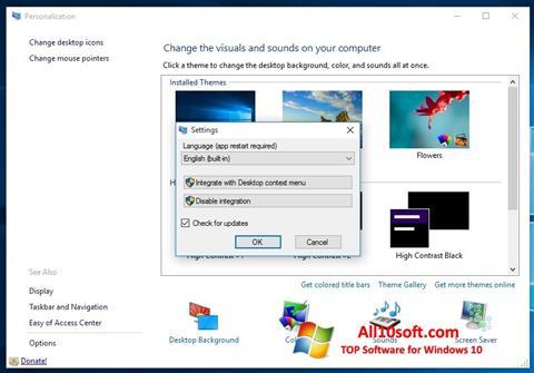 Captură de ecran Personalization Panel pentru Windows 10