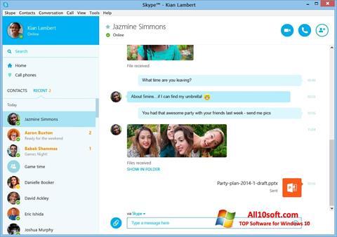 Captură de ecran Skype pentru Windows 10
