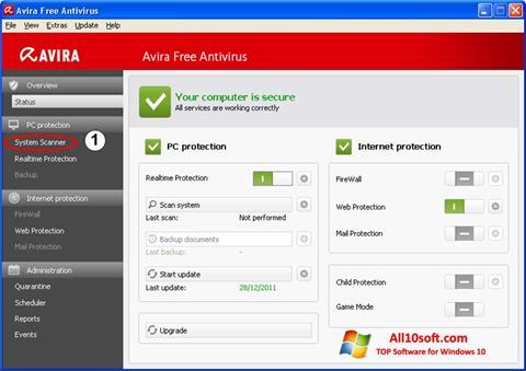 Captură de ecran Avira pentru Windows 10