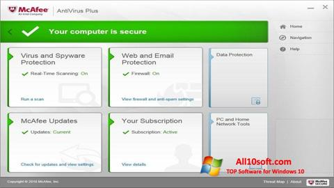 Captură de ecran McAfee AntiVirus Plus pentru Windows 10